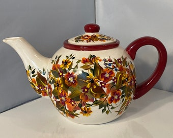 Hand Painted Teapot. 6 Cup Ceramic Teapot. Fall Teapot. Autumn Colored Teapot. Teapot Collector. Teapot Lover. Teapot Gift for Fall Season.