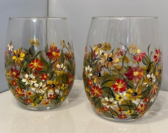 Fall Wine.Hand Painted Stemless Wine Glass. Painted Wildflower Stemless Glasses.  Autumn Wine Glasses. Fall Wine Glass. Wildflower Wine.