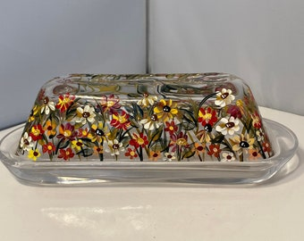 Fall Butter Dish. Painted Glass Butter Dish. Covered Butter Dish. Hand Painted Wildflower Butter Dish. Butter Dish with Autumn Colors.