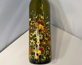 Fall Oil Bottle. Oil Bottle with Fall Design. Hand Painted Oil Bottle. Painted Oil Bottle for Fall. Thanksgiving Table Oil Bottle.