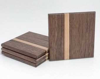 Rustic Walnut and Maple Wooden Drink Coasters