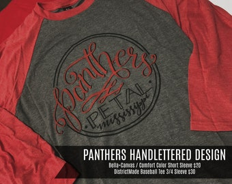 3f2697edfb34 Ready to Ship Deliver PETAL Handlettered Panthers Design Short Sleeve Tees  ©YourTshirtStop  Please read entire listing details!