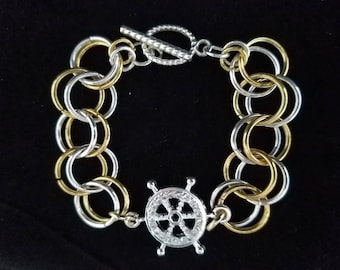 Silver and Gold colored Chain Maille Ship Wheel Bracelet, Women, Summer, Nautical, Vacation, Boating