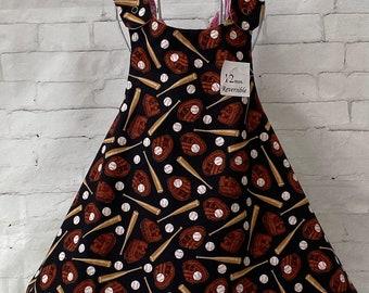 Cute dress! Baseball motif and Pink Bandana/Paisley, Little Girl's Dress, 12m, Reversible, Wrap style, Incl. matching headband, READY NOW!