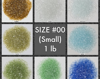 Size #00 Galaxy Glass - BOX of 30, 1 lb bags: BULK Small crushed glass for arts, crafts and decor