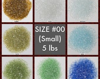 Size #00 Galaxy Glass - BOX of 6, 5 lbs bags: BULK Small crushed glass for arts, crafts and decor