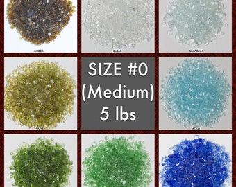 Size #0 Galaxy Glass - BOX of 6, 5 lbs bags: BULK Medium crushed glass for arts, crafts and decor