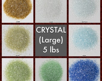 Size CRYSTAL Galaxy Dust - BOX of 6, 5 lbs bags: BULK Large glass sand for arts, crafts and decor