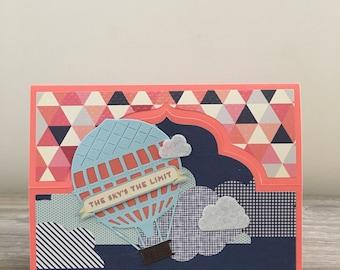 Hot air balloon easel stand birthday card