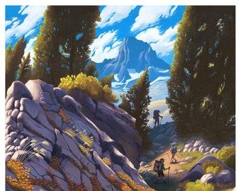 sierra nevada, wilderness, backpacking, outdoor adventure, giclee print, poster, camping life, art print, mountains, wilderness, adventure,