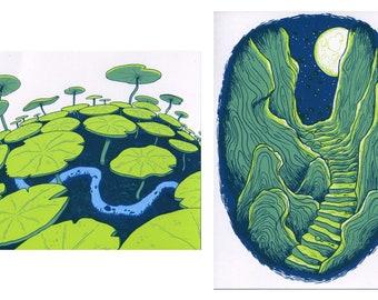 Adventure print, camping print, wilderness art, adventure art, old ruins, outdoor print, nature print, magical art, nature art, mini print
