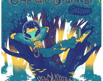 Brew poster, Yellow Springs Brewery, beer poster, Captain Stardust, saison, screen print, screen printed, frog, whimsical, local brewery,
