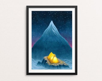 Adventure print - camping art, wilderness art, tent, nature painting, mountain, mountain top, alpine, camping, kids room, nursery decor
