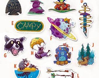 pick three, stickers, vinyl stickers, fun stickers, outdoor adventure, wildlife stickers, backpacking, camping stickers, laptop stickers,