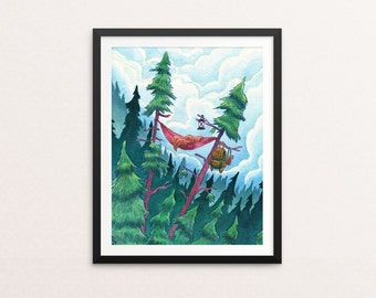 Adventure print, camping print, wilderness art, adventure art, hammock print, camping art, outdoor print, nature print, nature art, hammock