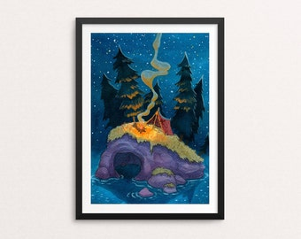 Adventure print - camping art, wilderness art, tent, nature painting, island, campfire, trees, camping, kids room, nursery decor