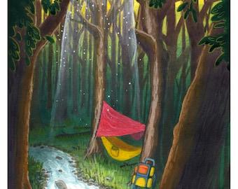 Adventure print - camping art, wilderness art, hammock, nature painting, forest, alpine, camping, kids room, nursery decor, hammock camping