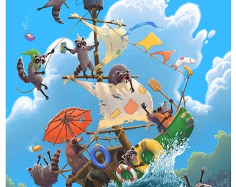 raccoon rafters, river rafting, summer fun, giclee print, poster, woodland animals, raccoons, trash pandas, cabrewing, art print, kids room