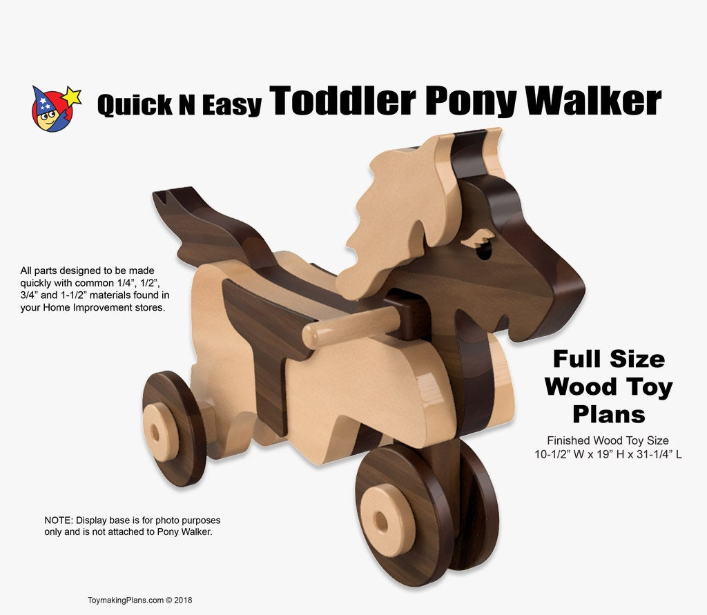 wood toy plan - quick n easy toddler pony walker
