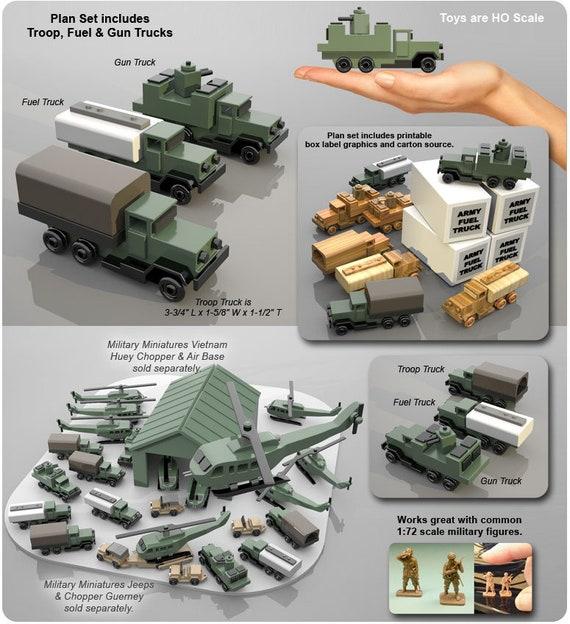 Set 3 - Military Miniatures Vietnam Troop, Fuel & Gun Trucks (PDF Download)