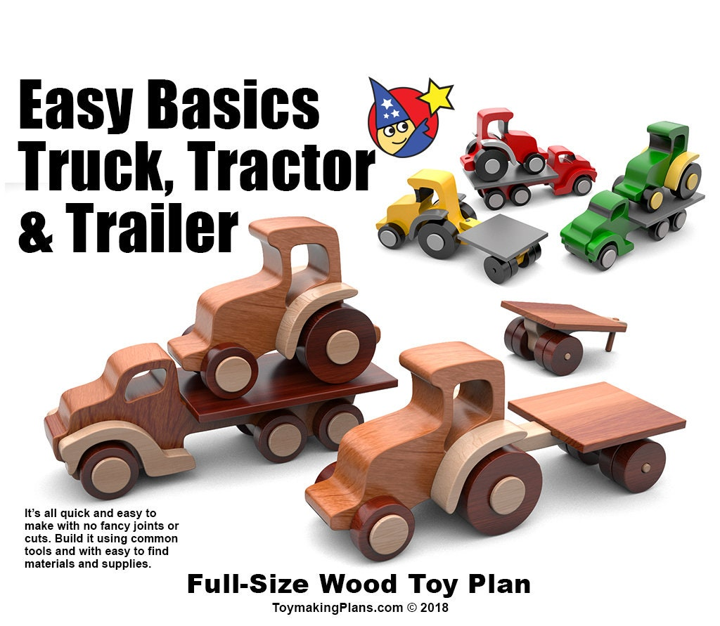 wood toy plan easy basics truck, tractor & trailer (pdf download)