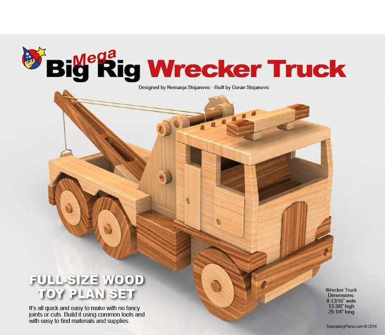 Wood Toy Plan Mega Big Rig GIANT Wrecker Truck (PDF ePlan Download)