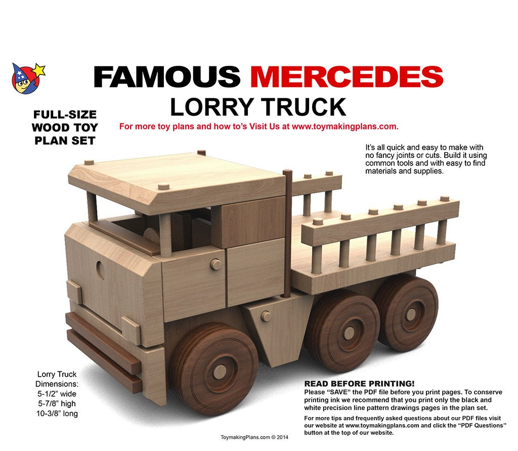 wood toy plan - try us for 99 cents! famous mercedes lorry truck (pdf  download)