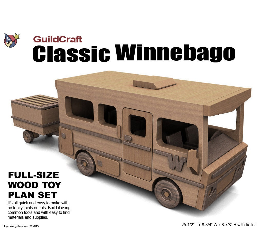 wood toy plan guildcraft classic winnebago with trailer (pdf download)