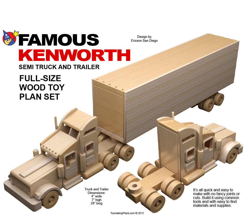 wood toy plan - famous kenworth semi truck & trailer (pdf download)