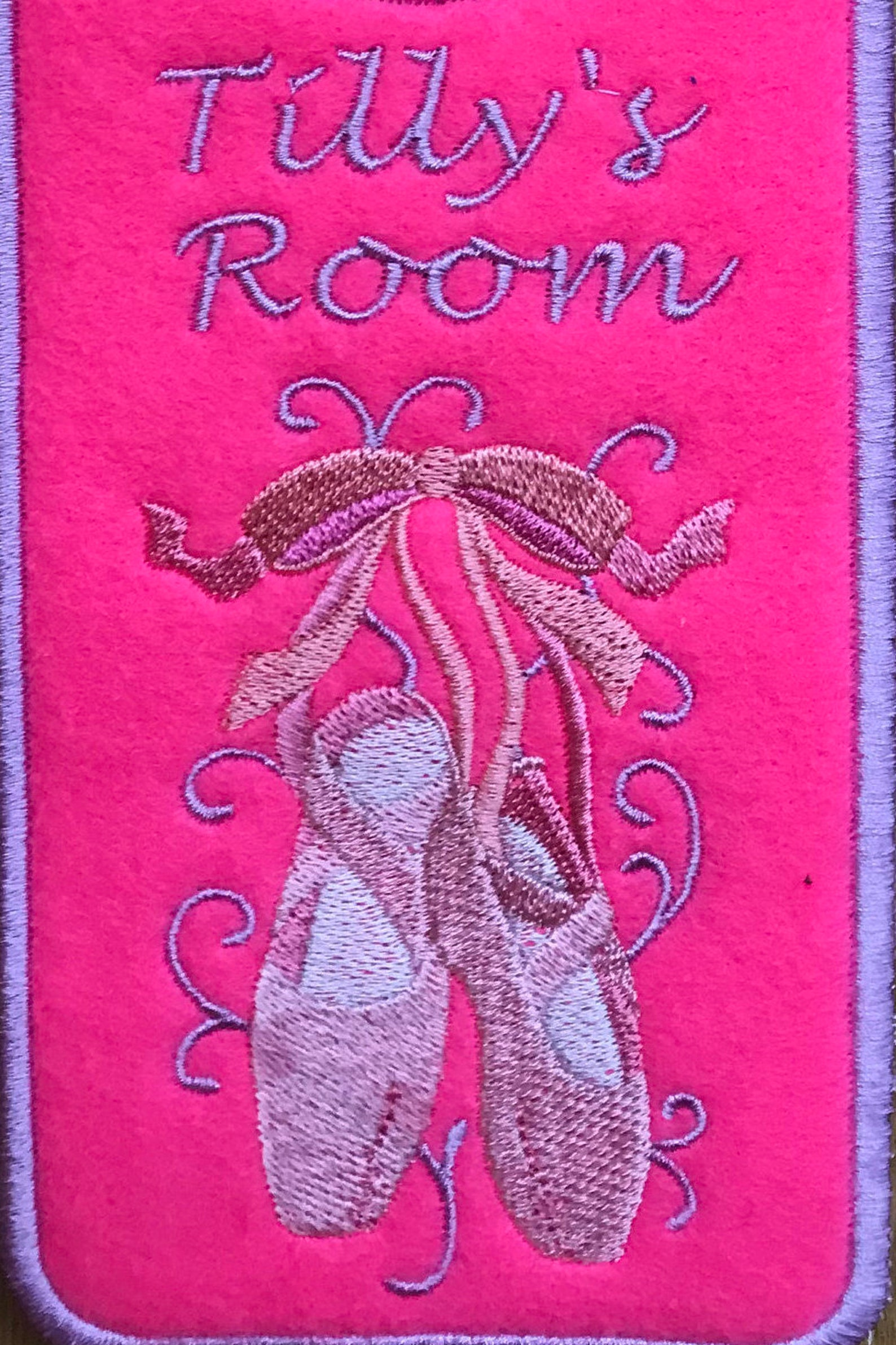 personalised door hanger, ballet shoes door hanger, ballet shoes, embroidered door hanger, ballet door hanger, dance door hanger