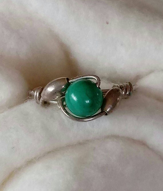 6mm Malachite Bead Wire Wrap Vintage Sterling Silver Ring Size 8