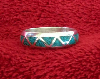 Southwestern Turquoise and Sterling Silver Ring Band Size 8 - December Birthstone - Vintage