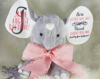 Baptism Gift - Baptism Elephant - Elephant Baptism Gift - Baptism - Elephant Stuffed Animal - Elephant Stuffed Animal for Baby