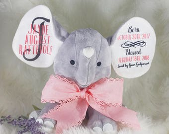 Elephant Stuffed Animal - Elephant Stuffed Animal for Baby - Elephant Birth Announcement - Elephant Birth Stats - New Baby Gift - New Baby