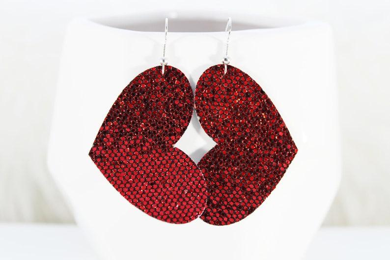 Leather Earrings Heart Faux Leather Earrings Leather Earrings Tear Drop Faux Leather Teardrop Earrings