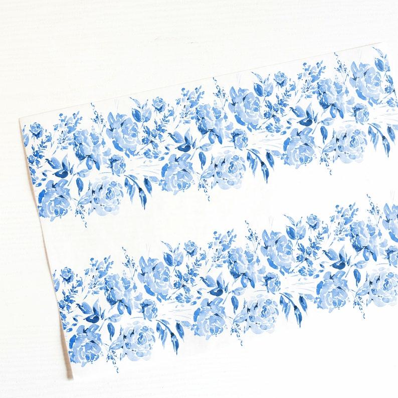Wafer PaperEdible PrintCake wrap A4 Blue Floral Icing Sheet