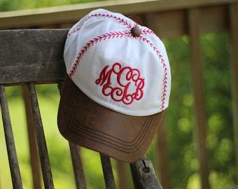 Baseball laces hat - Baseball stitch hat - Monogrammed baseball hat - Embroidered baseball hat - Baseball stitching hat - Baseball mom hat