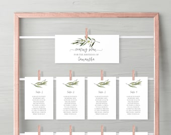 Seating Plan with olive leaf, green leaves birthday seating chart, guest seating chart template baby birthday, take your seat leaf #024