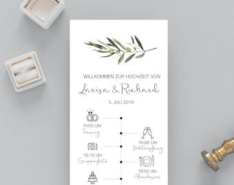 Birthday Program, Timeline Design, Wedding Day Timeline, Olives, Schedule of Events, Editable Order of Events (in English or German) #024