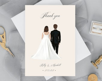 Wedding couple Illustrations, thank you card, wedding gift, couple Portrait, Digital Drawing Gift, husband and wife gift, gift idea #017