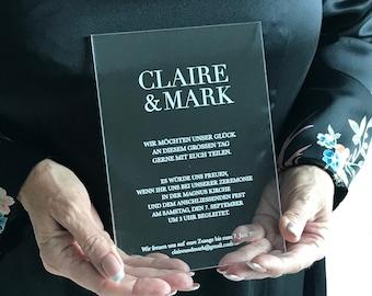 Acrylic Invitation, Clear Invitations, Invite on Acrylic, Square Invitation, transparent invitation, wedding invite, birthday invitation