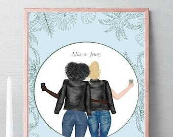 Best friend Illustration, friends portrait, friends gift, birthday gift palm tree, drawing Gift, friendship celebration gift, gift idea #017