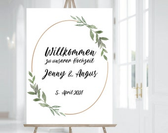 Wedding Welcome Sign, Printable Welcome Board, Greeting Sign, Welcome to our wedding sign in greenery frame (in any language) #024