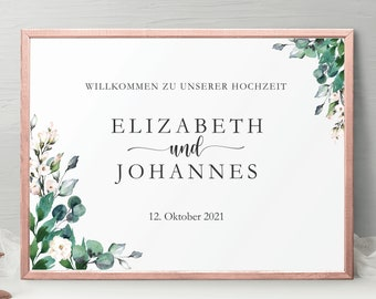 Welcome Sign Calligraphy, Script Font Printable Welcome Board for Event, Green leafs eucalyptus, Greeting sign wedding with couple name #024
