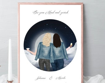 Best friends Illustrations, friends portrait, friends gift, birthday gift, to the moon and back, friendship celebration gift, gift idea #017