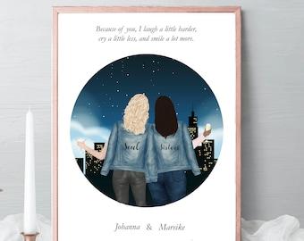 Best friends Illustrations, friends portrait, friends gift, birthday gift skyline, drawing Gift, friendship celebration gift, gift idea #017