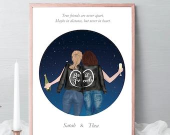 Best friends Illustrations, friends portrait, friends gift, birthday gift stars, drawing Gift, friendship celebration gift, gift idea #017