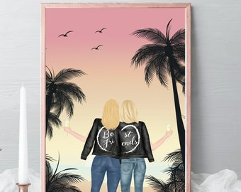 Best friends Illustrations, friends portrait, friends gift, birthday gift beach, palm tree, friendship celebration gift, gift idea #017