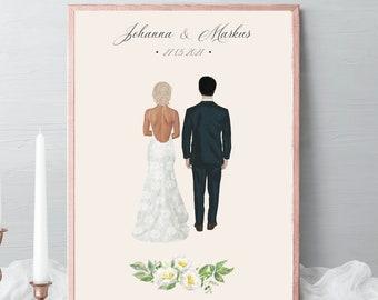 Wedding couple Illustrations, bride groom portrait, wedding gift, couple Portrait, drawing Gift, husband and wife gift, gift idea #017