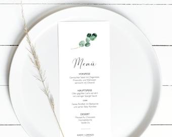 Eucalyptus Menu Card Template, Dinner Menu for event, Wedding Menu Design, Custom brunch menu in your language, eucalyptus menu card #024